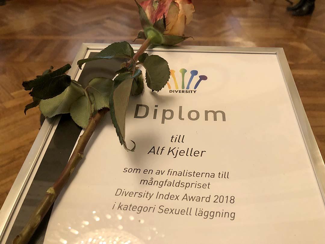 Alla finalister till Diversity Index Award fick ett diplom